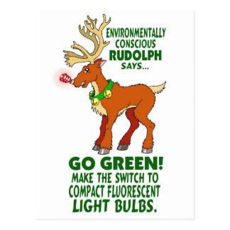 Environmentally Conscious Rudolph Postcard