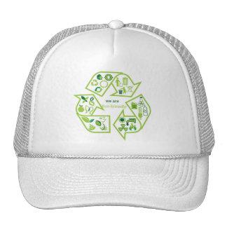 Environmentally eco-friendly green recycle cap trucker hat