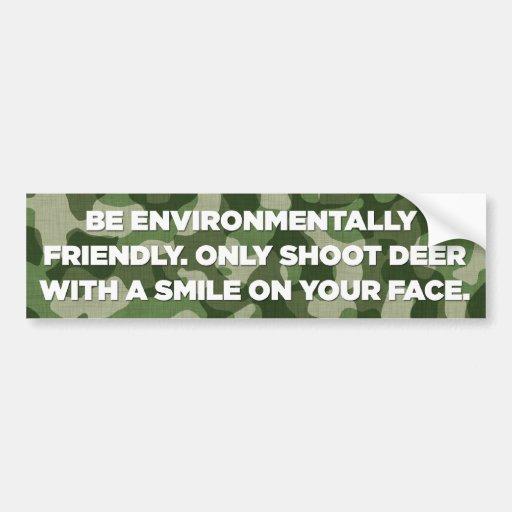 Environmentally Friendly Deer Hunting Car Bumper Sticker