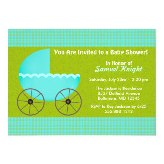 Envisager Blue Stroller Boy Baby Shower Invite