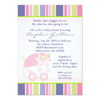 Envisager Trendy Stroller Girl Baby Shower Invite