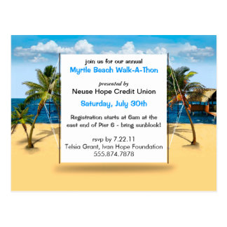 Envisager Tropical Beach Event Personalize Invite Postcard