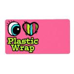 Envoltorio de plástico brillante del amor del cora etiqueta de envío