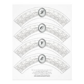 Envoltura blanca de la magdalena del monograma del membrete a diseño