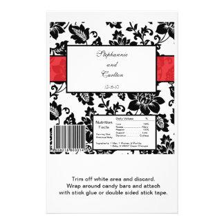 Envoltura de caramelo floral negra roja del boda d tarjetas informativas