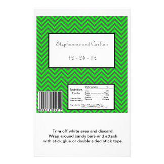 """Envoltura de caramelo verde de Chevron/gris de neó Folleto 5.5"""" X 8.5"""""""