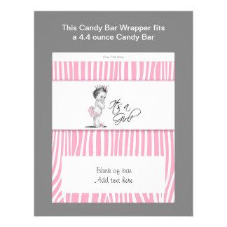 Envoltura rosada de la barra de caramelo de la fie tarjetones