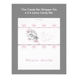 Envoltura rosada de la barra de caramelo de la fie tarjeta publicitaria