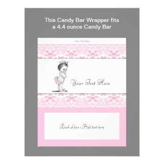 Envoltura rosada de la barra de caramelo de la pri flyer personalizado
