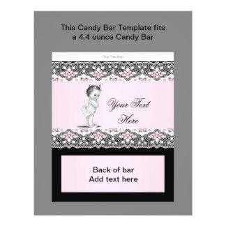 Envoltura rosada y negra de la barra de caramelo d tarjeton