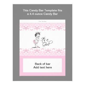 Envoltura rosada y negra de la barra de caramelo d flyer personalizado