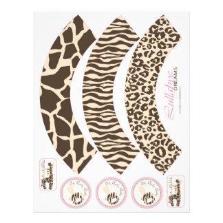 Envolturas de la magdalena del chica del safari tarjetas informativas