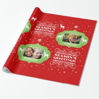 Envolturas del regalo del navidad de la foto papel de regalo