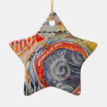 Envuelto agradable adorno navideño de cerámica en forma de estrella