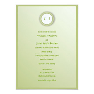 Envy Green and White Wedding Invitation