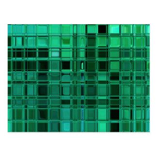 Envy Green Pattern Mosaic Tile Art Postcard