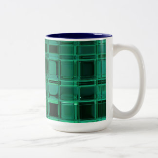 Envy Green Pattern Mosaic Tile Art Two-Tone Coffee Mug
