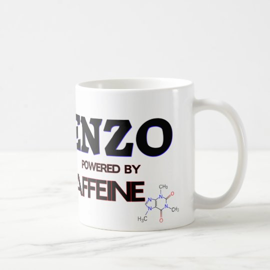 Enzo powered by caffeine coffee mug