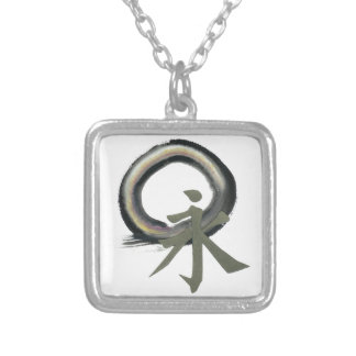 Enzo with Kanji  meaning Forever Square Pendant Necklace