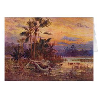Eocene Prehistoric Animals Antique Print Card