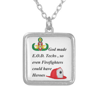 EOD - Firefighter Heroes Silver Plated Necklace