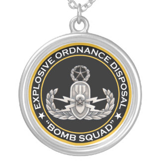 EOD Master Bomb Squad Silver Plated Necklace