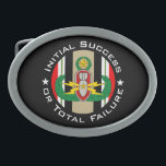 """EOD Master in color OIF ISoTF Oval Belt Buckle<br><div class=""""desc"""">EOD Master badge in color in front of Iraq Campaign ribbon with Initial Success or Total Failure.  Background color can be changed (depending on product type) and image can be resized/moved by using customize button.</div>"""