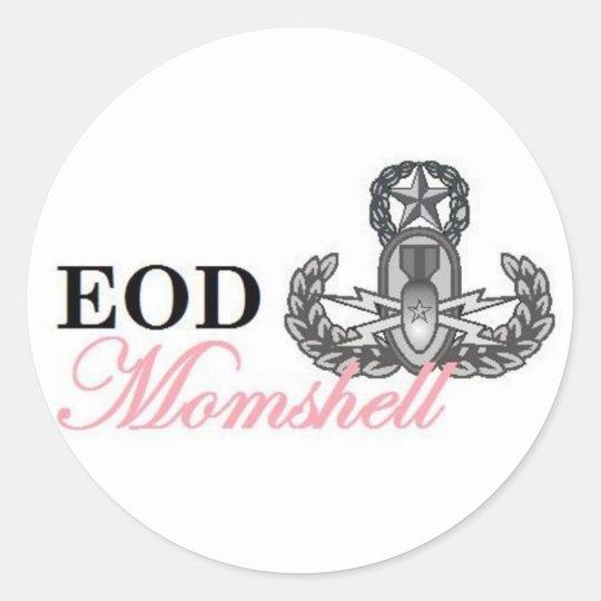 eod master momshell classic round sticker