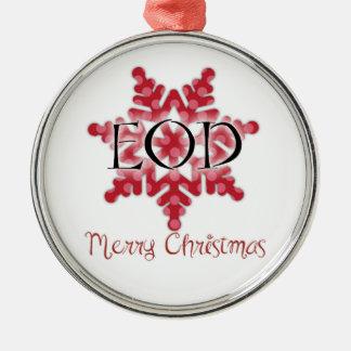 EOD Merry Christmas Metal Ornament