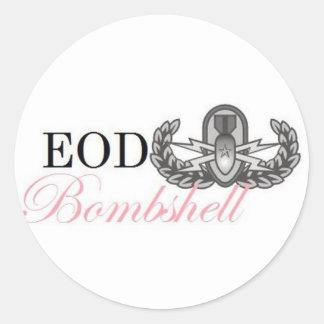 eod senior bombshell round sticker
