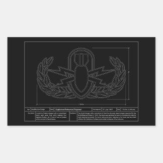 EOD Technical Drawing Rectangular Sticker