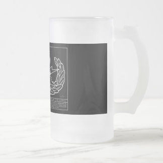 EOD Technical Drawing white Frosted Glass Beer Mug