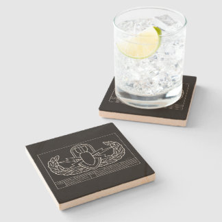 EOD Technical Drawing white Stone Coaster