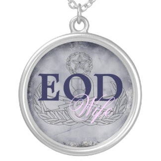 EOD Wife pink/dark blue Round Pendant Necklace