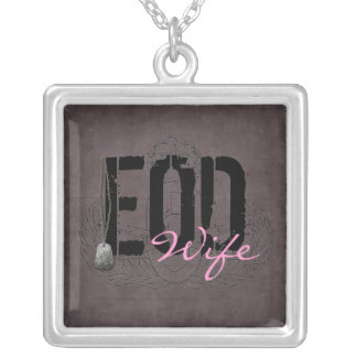 EOD Wife with dog tags Square Pendant Necklace