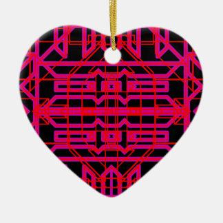 Eón de neón 6 adorno navideño de cerámica en forma de corazón