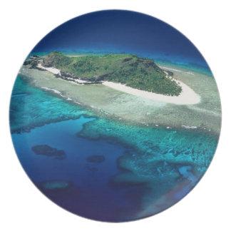 Eori Island, Mamanuca Islands, Fiji - aerial Plate