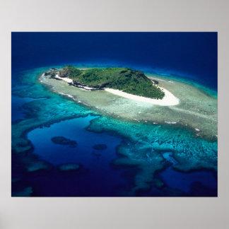Eori Island, Mamanuca Islands, Fiji - aerial Poster
