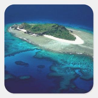 Eori Island, Mamanuca Islands, Fiji - aerial Square Sticker