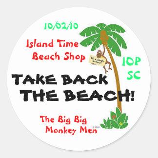 EOTWMonkeyInTree, TAKE BACK, THE BEACH!, Island... Classic Round Sticker