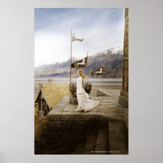 Eowyn en pasos del castillo póster