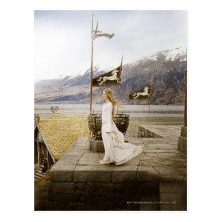 Eowyn en pasos del castillo tarjeta postal