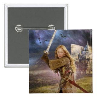 Eowyn Raises Sword 2 Inch Square Button