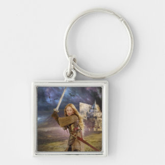 Eowyn Raises Sword Silver-Colored Square Keychain