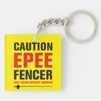 Epee Fencer Will Fleche Double-Sided Square Acrylic Keychain
