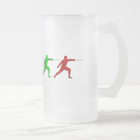 Epee Fencers Fencing Mens Athlete Womens Sports Frosted Glass Beer Mug