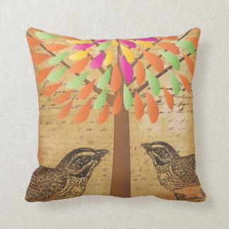 Ephemera Bright Colors Modern Flower Tree Birds Throw Pillow