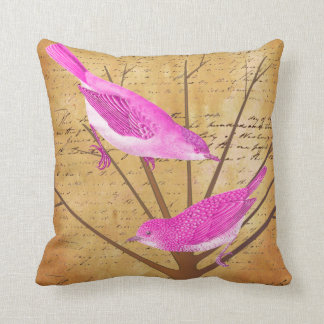 Ephemera Bright  Modern Flower Tree Vintage Birds Throw Pillows