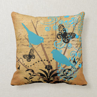 Ephemera Bright Modern Tree Bird Vintage Butterfly Throw Pillows