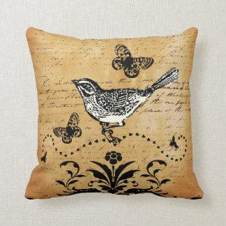 Ephemera  Vintage Bird and Butterfly Throw Pillows
